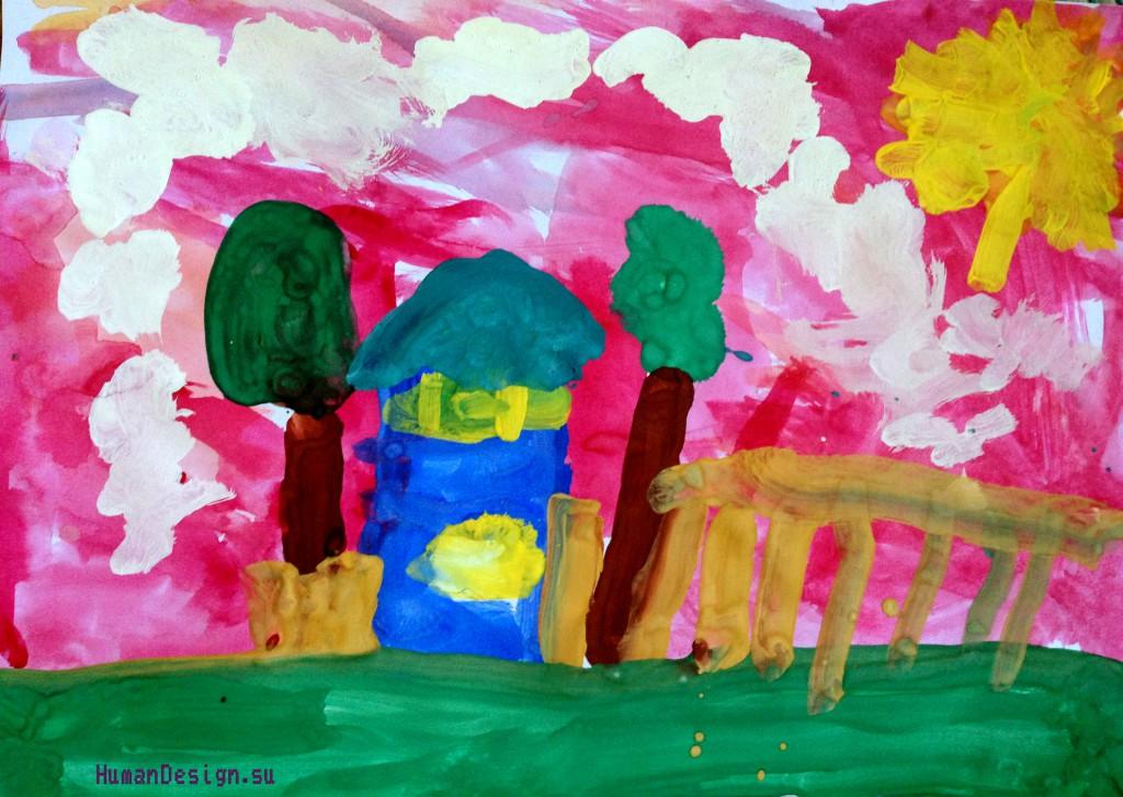 Рисунок Майтрик-Синий домик с розовым небом